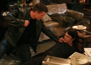 Jason (Steve Burton) gets ready to punch Franco (James Franco). ABC/Chris Chavira